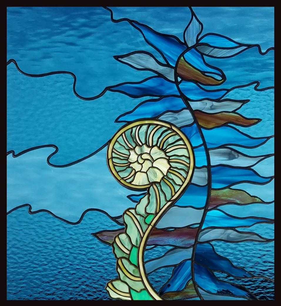 """Fiddlehead"" stained glass by Colleen Clifford"
